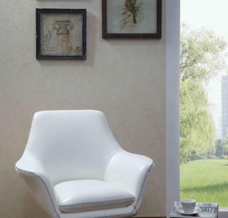 Chaise d'appoint contemporaine blanche A-832 (086296)
